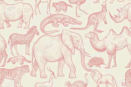 Animals of wild world seamless pattern