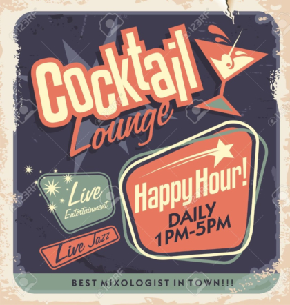 Retro poster design for cocktail lounge, Cocktail party