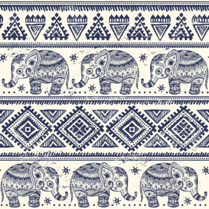 Ethnic elephant seamless pattern