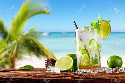 Mojito drink on the beach