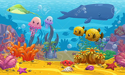 Underwater cartoon vector illustration