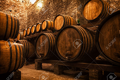 Wine cellar in Italy with barrels