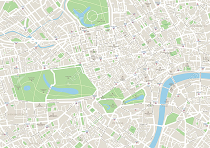 Highly detailed vector map of London