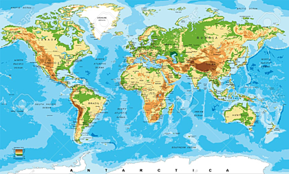 Physical map of the world