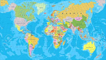 Colored World Map - borders, countries and cities