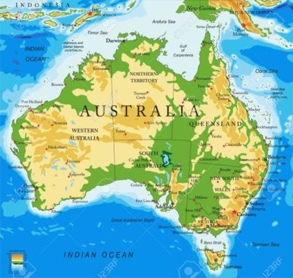 Australia, physical map