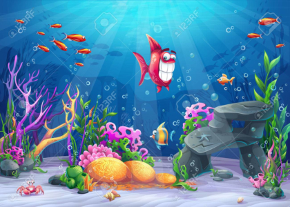Undersea with fish marine life landscape cartoon wallpaper