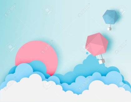 Hot air balloon paper art style with pastel sky
