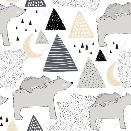 Pattern with polar bear mom and baby