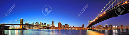 New York City with Brooklyn Bridge and Manhattan Bridge