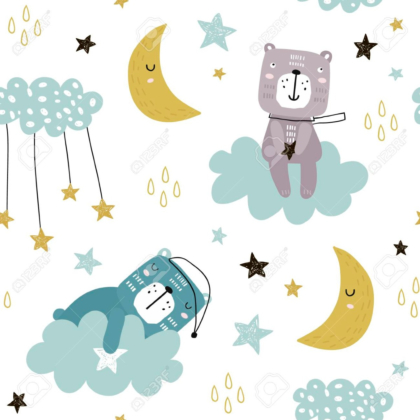 Pattern with cute bears on clouds, moon, stars.