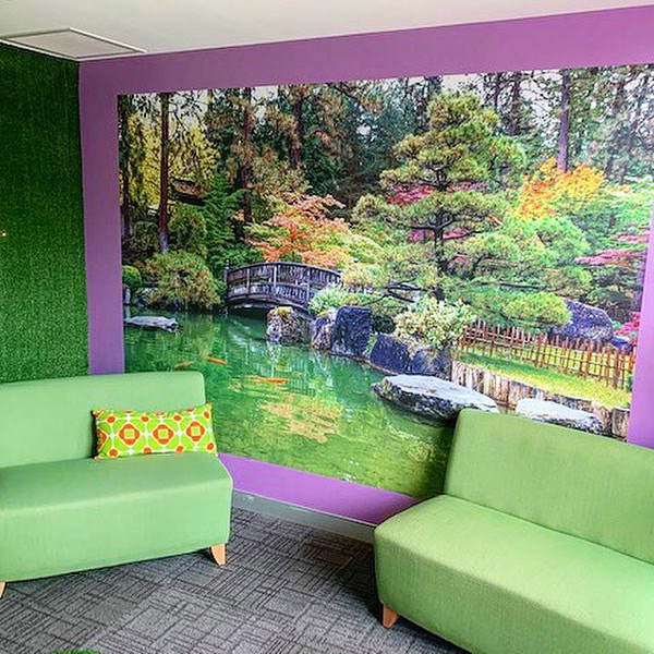 Consulting room at Headspace with custom wallpaper mural