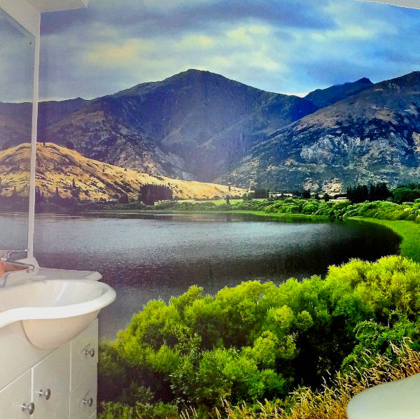 Custom Printed office bathroom wallpaper