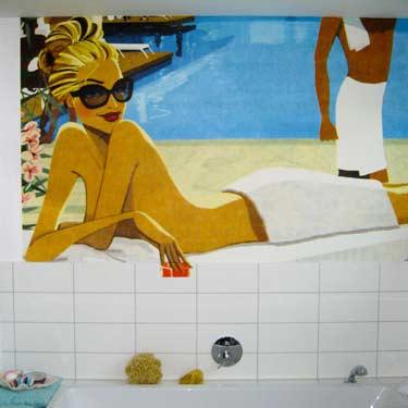 Custom Printed Bathroom Wallpaper