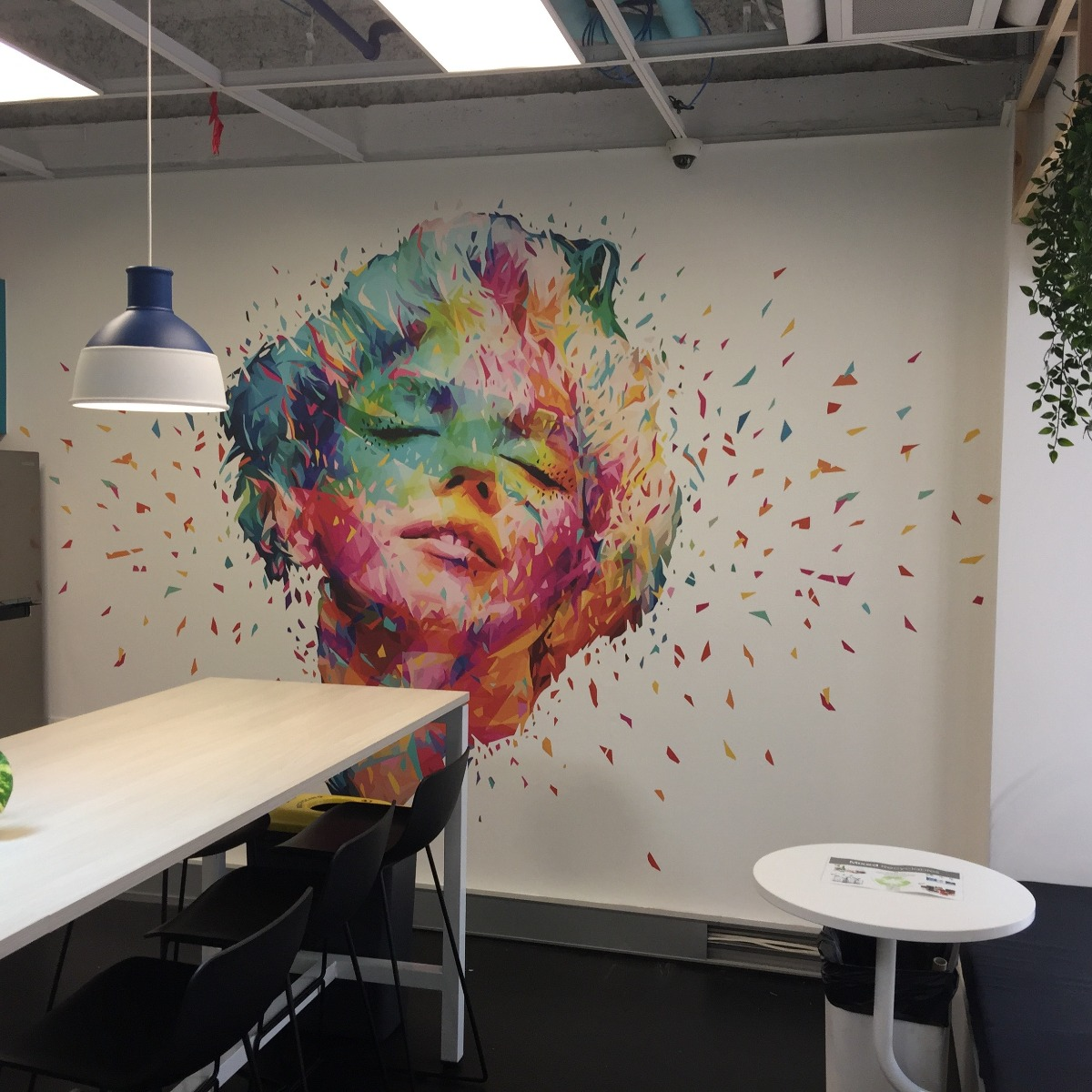 Custom Printed Wallpaper Mural for Co-Working Space