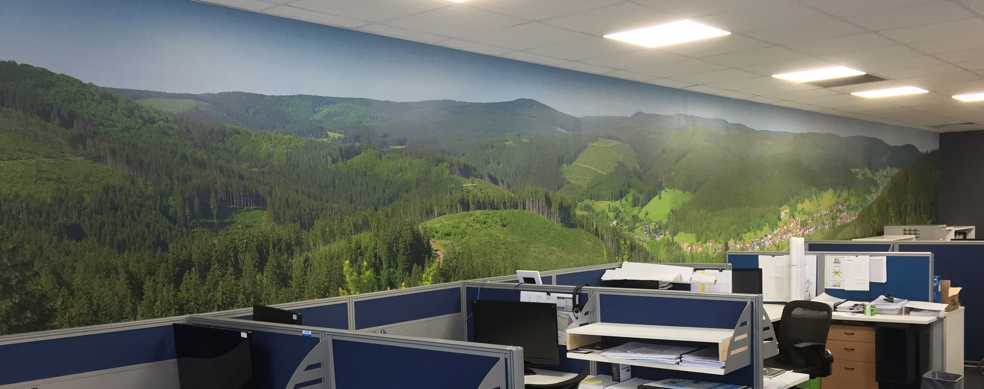 Office with custom printed wallpaper